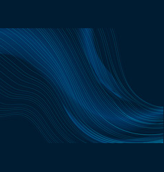 dark blue curved line abstract waves background vector image