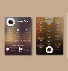 Design menus for a restaurant cafe or coffeehouse vector