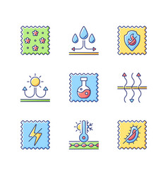 Different types fabric feature flat color icon vector