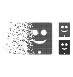 Dissipated pixel halftone communicator smile vector