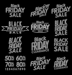 Elegant words Black Friday wear sale tags Isolated vector image