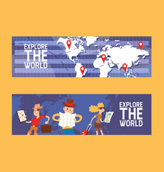 explore world set banners vector image