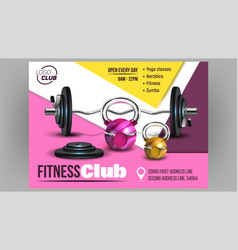 Fitness club creative advertising banner vector