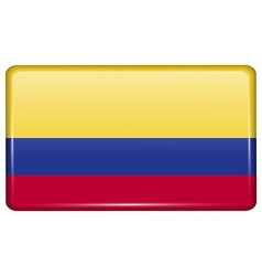 Flags Colombia in the form of a magnet on vector
