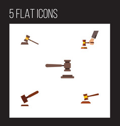 Flat icon court set of court hammer crime and vector