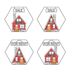 flat linear design outlined stroke realty icons vector image