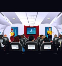 Flight attendant showing safety procedure vector