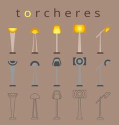 floor lamp icon flat design torchere vector image