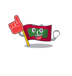 Foam finger cartoon flag maldives in with mascot vector