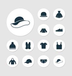 Garment icons set collection elegant headgear vector