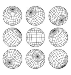 globe grid 3d sphere wires earth network vector image