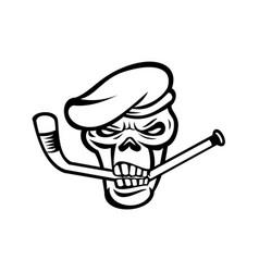 Green beret commando skull biting an ice hockey vector