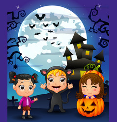Halloween background with happy girl wearing costu vector