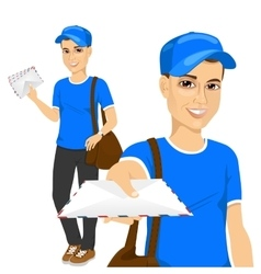 handsome young post man in blue uniform vector image