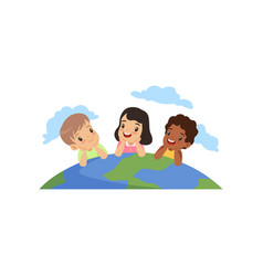 happy little kids of different nationalities lying vector image