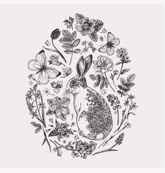 herbal composition with flowers and rabbit vector image