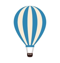 hot balloon basket blue icon vector image