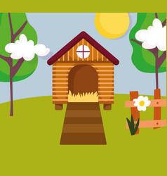 house hen fence flower and trees farm cartoon vector image