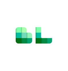 initial letters bl b l pixel brick logo design vector image