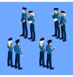 Isometric People Policeman and Policewoman vector image