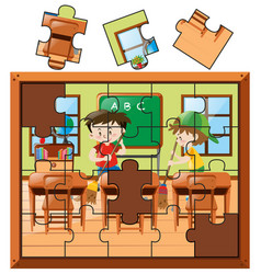 Jigsaw puzzle pieces with boys cleaning classroom vector
