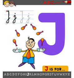 Letter j worksheet with cartoon juggler vector