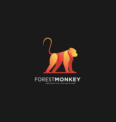 logo forest monkey gradient colorful vector image