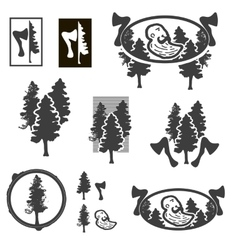 Logo or emblem with trees or forest ranger vector image