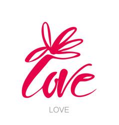 love flower lettering template vector image