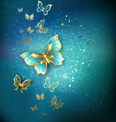 Luxury gold butterflies vector