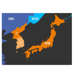 Map of south korea north korea and japan vector