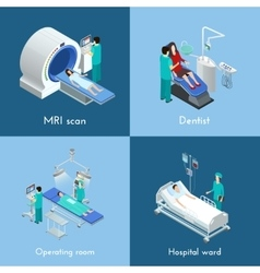 Medical Equipment Isometric 4 Icons Square vector