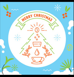 Merry christmas with coffee making vector