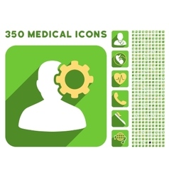 Migraine Icon and Medical Longshadow Icon Set vector