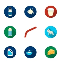Milk set icons in flat style Big collection of vector