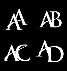 Monogram logo design aa-ab-ac-ad vector