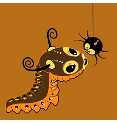 Monster-caterpillar with spider vector