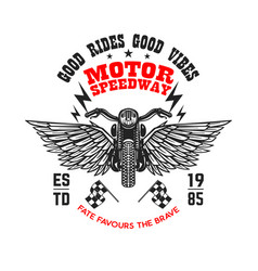 motor speedway poster template with winged vector image
