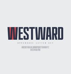 narrow sans serif font uppercase letter vector image