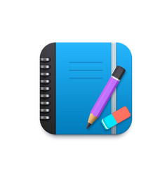 notebook with pencil and eraser 3d design element vector image