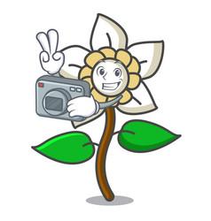 Photographer jasmine flower mascot cartoon vector