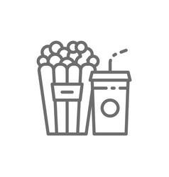 popcorn snack and drink cinema food line icon vector image