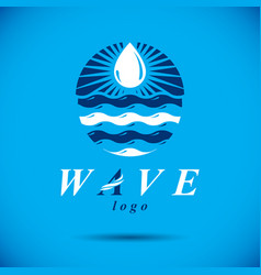 pure aqua ecology logo human water reserves theme vector image