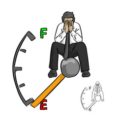 sad businessman sitting on fuel gauge using hands vector image