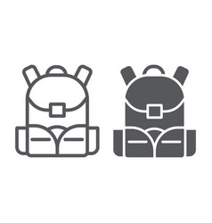 Schoolbag line and glyph icon rucksack and bag vector