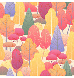 Seamless pattern with autumn trees and bushes vector