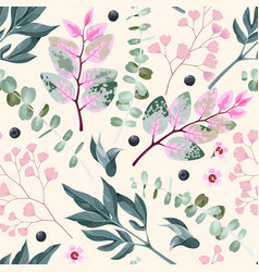 Seamless pattern with green and pink leaves vector