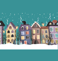 Seamless winter border with cute houses and trees vector