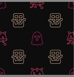 Set line halloween witch cauldron chocolate bar vector