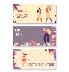 set motivational horizontal flat banner for woman vector image
